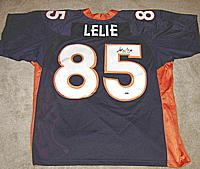 ASHLEY LELIE autographed ( signed autograph ) authentic Denver Broncos jersey ( Mounted Memories )