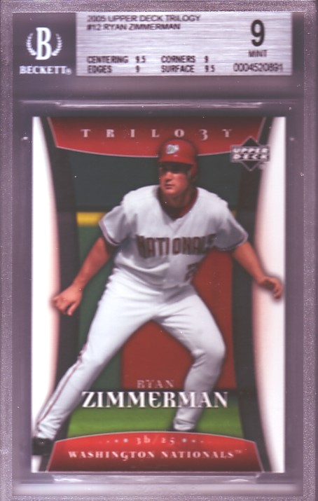2005 Upper Deck Trilogy #12 Ryan Zimmerman BGS-9.0 MINT
