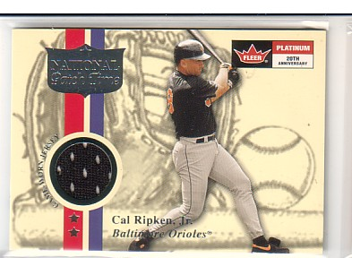 2001 Fleer Platinum National Patch Time #45 Cal Ripken Black S1 front image