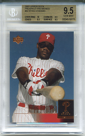 2001 Upper Deck Prospect Premieres #62 Ryan Howard Rookie Card (Beckett Graded GEM MINT 9.5)