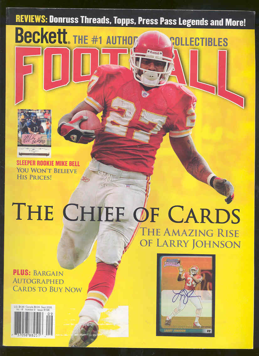 Low Shipping Beckett Football Magazine #198 September 2006 Larry Johnson Cover
