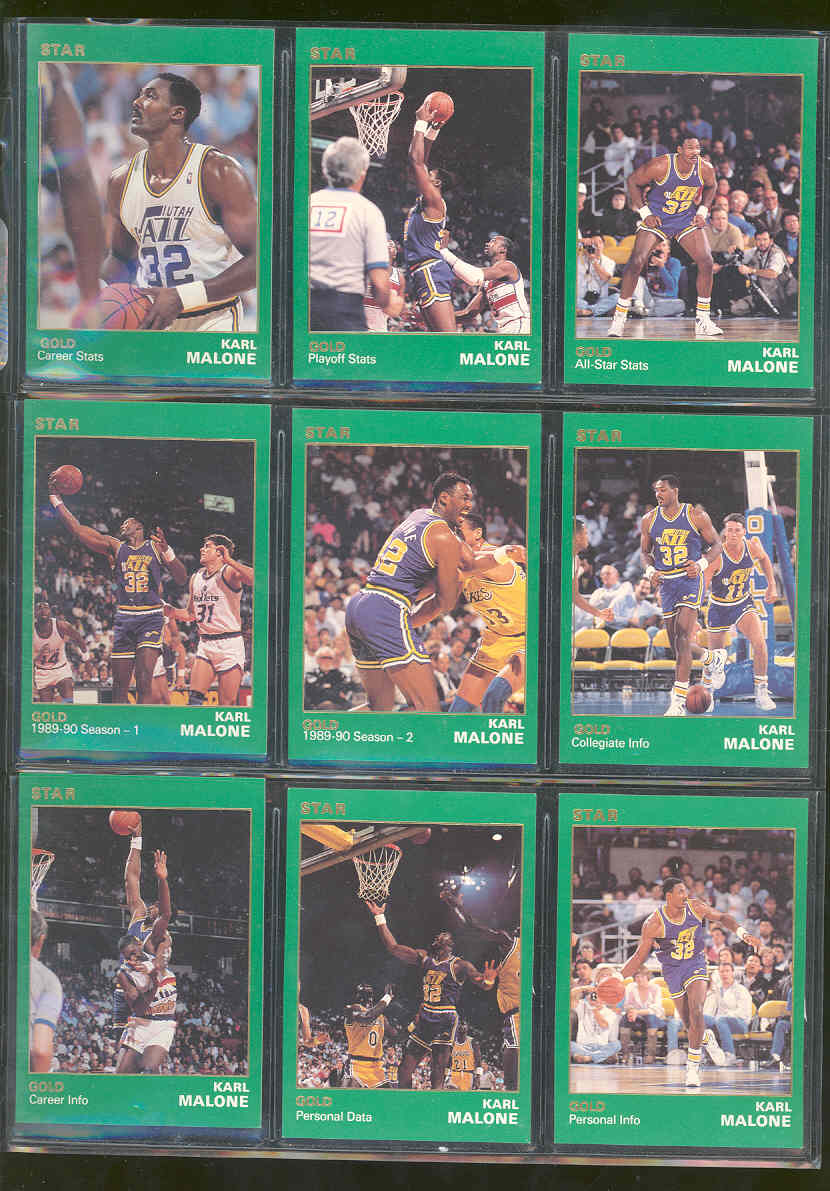 1990 Star Basketball Karl Malone Star Set Gold 1 of 1500 sets printed of this player