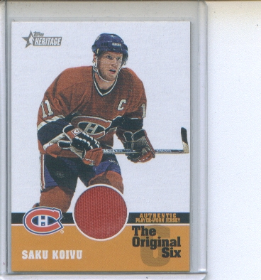 2000-01 Topps Heritage Original Six Relics #OSJSK Saku Koivu J