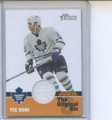2000-01 Topps Heritage Original Six Relics #OSJTD Tie Domi J