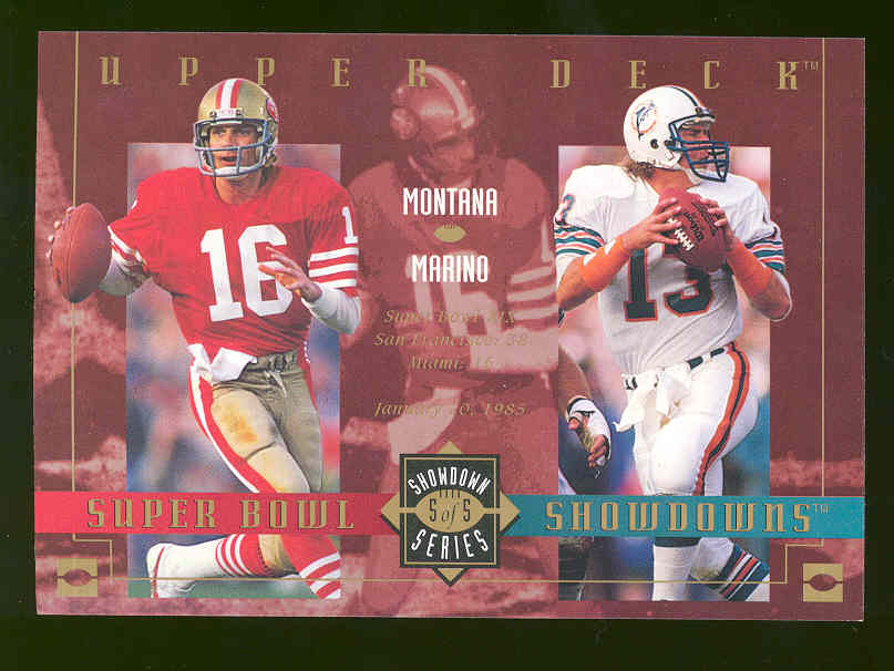 1993 Upper Deck Tombstone Pizza Lite Beer Super Bowl Showdowns Showdown Series #5 of 5 Joe Montana / Dan Marino Over Sized RARE