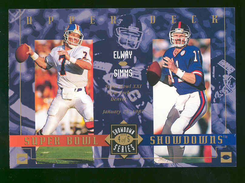 1993 Upper Deck Tombstone Pizza Lite Beer Super Bowl Showdowns Showdown Series #4 of 5 John Elway / Phil Simms Over Sized RARE