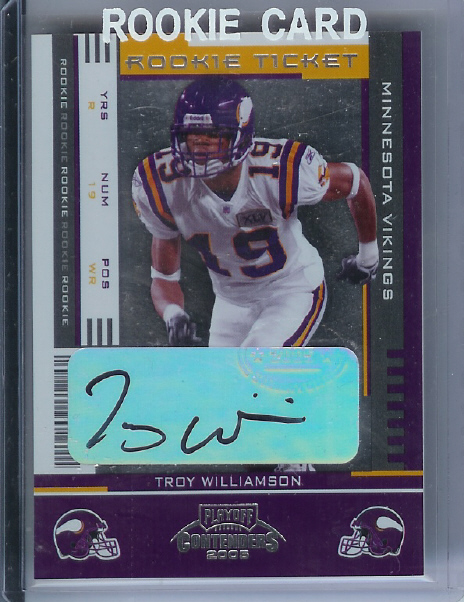 2005 Playoff Contenders #179 Troy Williamson AU/402* RC