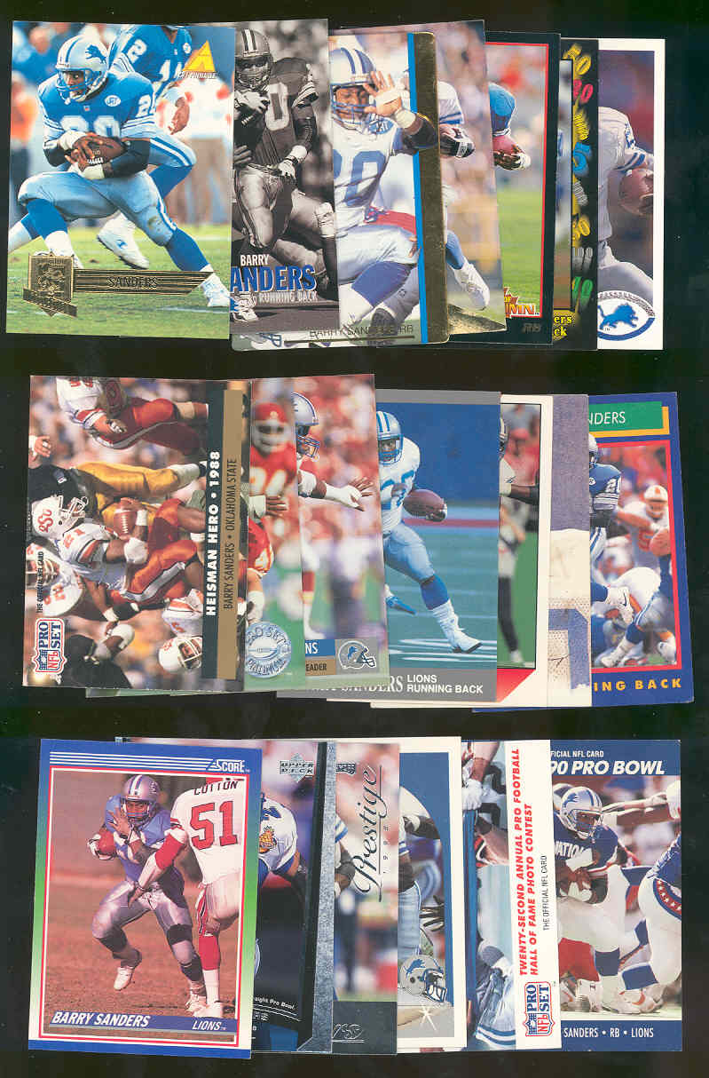(20) Assorted / Mixed Barry Sanders Lions NFL Cards All Different  Low Shipping