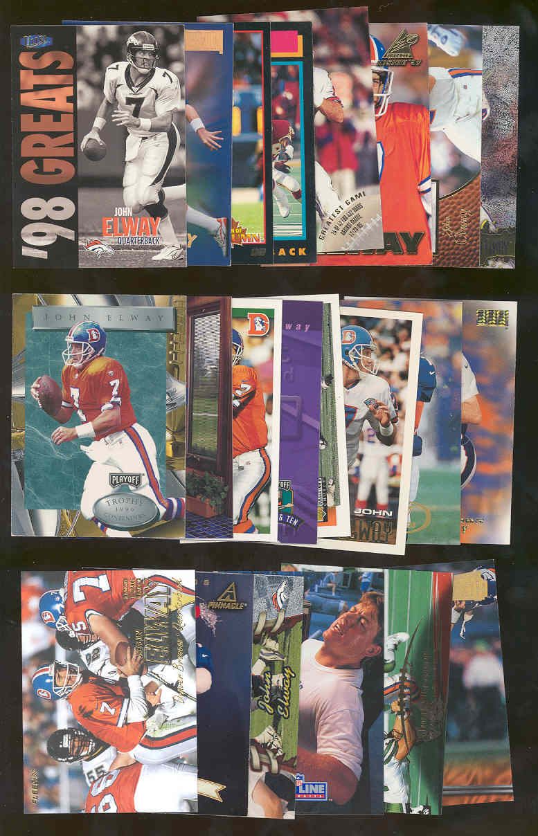 (20) Assorted / Mixed John Elway Broncos NFL Cards All Different  Low Shipping