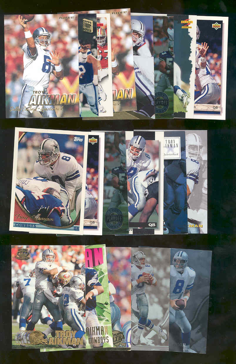 (20) Assorted / Mixed Troy Aikman Cowboys NFL Cards All Different  Low Shipping