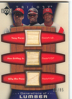 2005 Upper Deck Trilogy Generations of Lumber Triple #PGP Tony Perez/Ken Griffey Jr./Wily Mo Pena