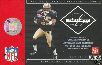 2006 Leaf Limited Football Factory Sealed Hobby Box / Pack (1 Autograph or Memorabilia Card, 1 Insert or Parallel Card & 2 Base Cards Per Pack)