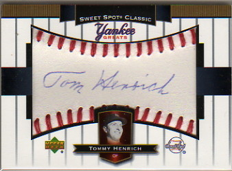 2003 Sweet Spot Classics Autographs Yankee Greats Blue Ink #TH Tommy Henrich SP