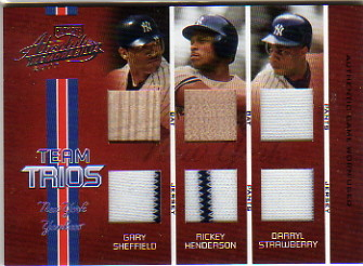 2005 Absolute Memorabilia Team Trios Swatch Double #21 Straw/Rickey/Shef/100