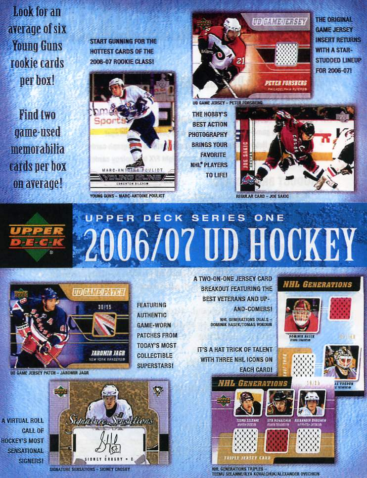 2006-07 (2007) Upper Deck Series 1 Hockey Factory Sealed Hobby Box (2 Jerseys & 6 Young Guns Rookies Per Box)
