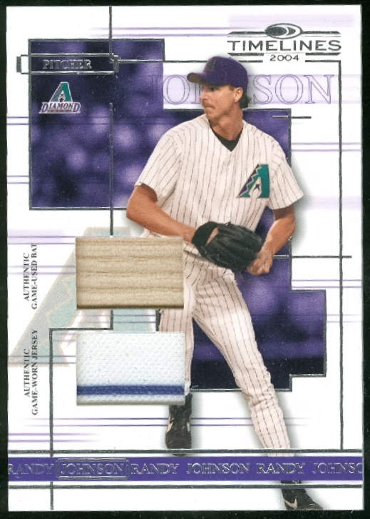 2004 Donruss Timelines Material Combo #39 Randy Johnson Bat-Jsy