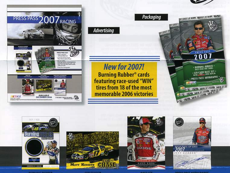 2007 Press Pass Racing Factory Sealed Hobby Box (1st Racing for 2007) (New Burning Rubber Race Used Win Tire Cards)
