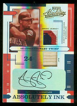 2004 Absolute Memorabilia Absolutely Ink Combo Material PS #111 S.Stewart Bat-Jsy/5
