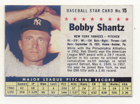 1961 Post #15 Bobby Shantz BOX only