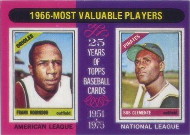 1975 Topps Mini #204 Frank Robinson/Bob Clemente MVP
