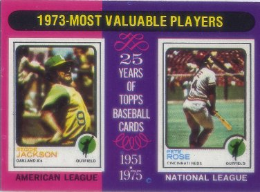 1975 Topps Mini #211 Reggie Jackson/Pete Rose MVP