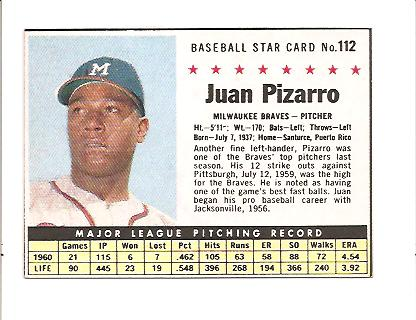 1961 Post #112 Juan Pizarro BOX only