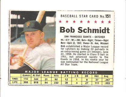 1961 Post #151 Bob Schmidt BOX only