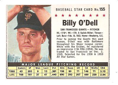 1961 Post #155 Billy O'Dell BOX only