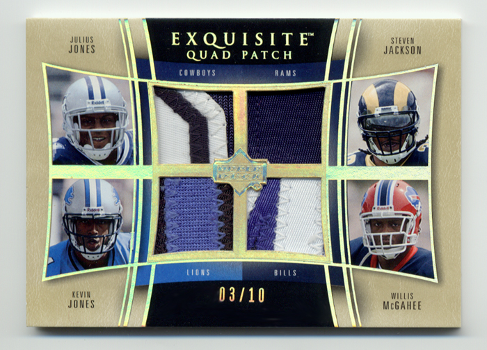 2005 Exquisite Collection Patch Quads #JJJM Julius Jones/Steven Jackson/Kevin Jones/Willis McGahee