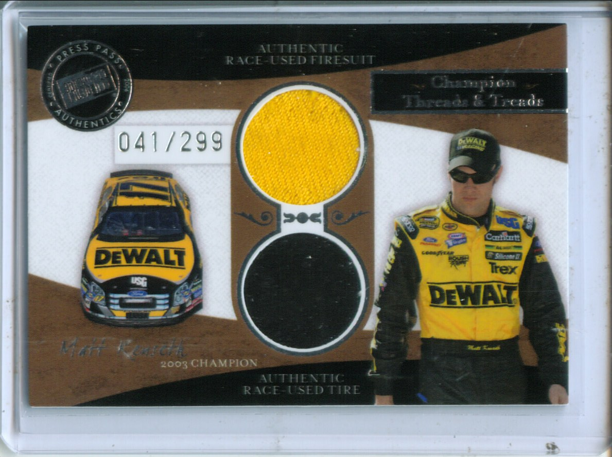 2006 Press Pass Legends Champion Threads and Treads Silver #CTTMK Matt Kenseth