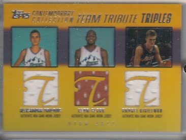 2003-04 Topps Contemporary Collection Team Tribute Triples Gold #PCK Zoran Planinic/Keon Clark/Andrei Kirilenko