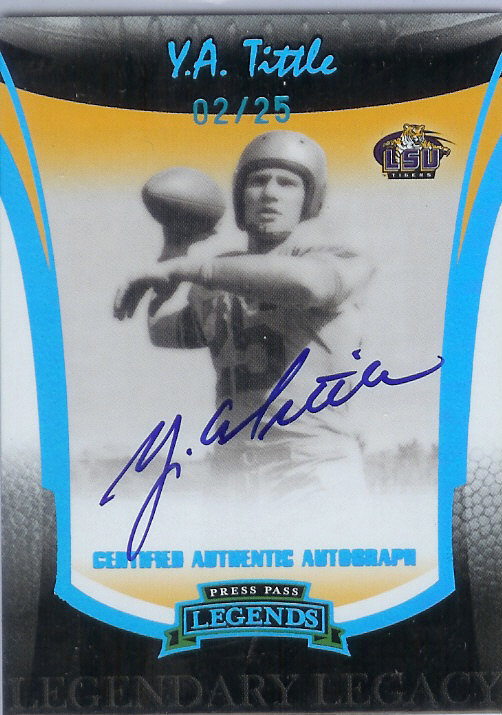 2006 Press Pass Legends Legendary Legacy Autographs Platinum #6 Y.A. Tittle