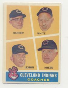 1960 Topps #460 Indians Coaches/Mel Harder/Jo Jo White/Bob Lemon/Ralph (Red) Kress