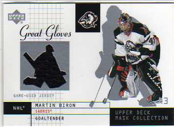 2002-03 UD Mask Collection Great Gloves #GGMB Martin Biron