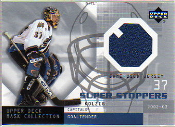 2002-03 UD Mask Collection Super Stoppers Jerseys #SSOK Olaf Kolzig