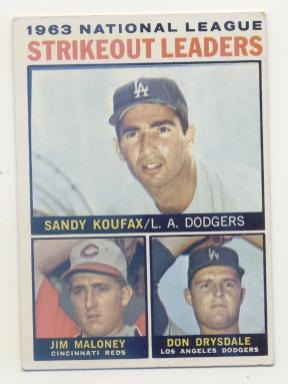 1964 Topps #5 NL Strikeout Leaders/Sandy Koufax/Jim Maloney/Don Drysdale front image