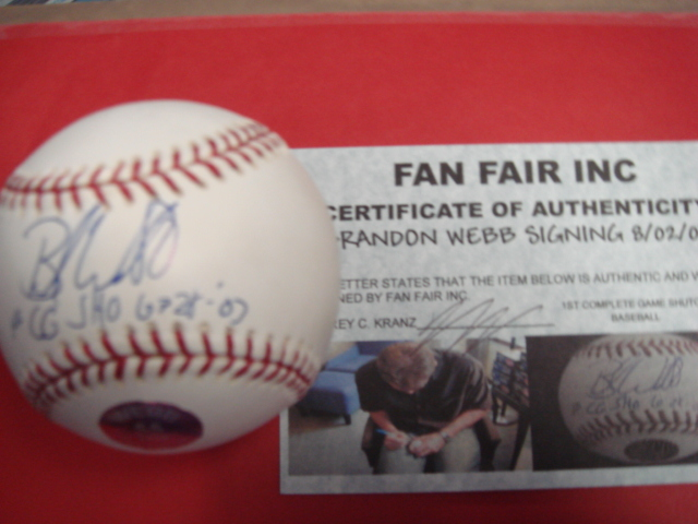 Brandon Webb Autographed Baseball With !st Complete Game Shutout 6/28/03 