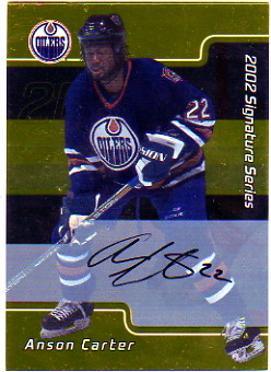 2001-02 BAP Signature Series Autographs Gold #11 Anson Carter