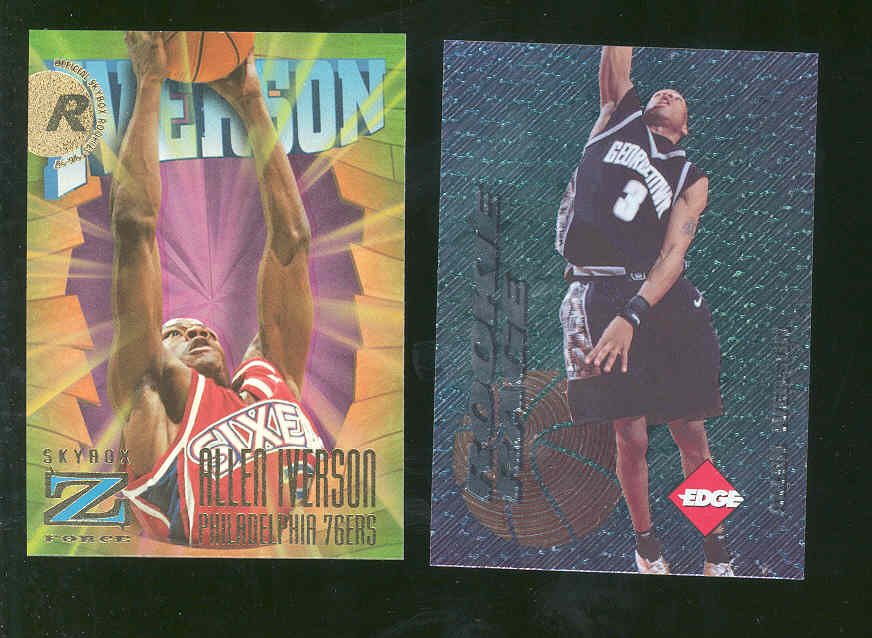 (2) 1996 Collector's Edge Georgtown / Skybox Z-Force Allen Iverson Rookie Cards 1 price for both cards 76ers Nuggets Rookie RC