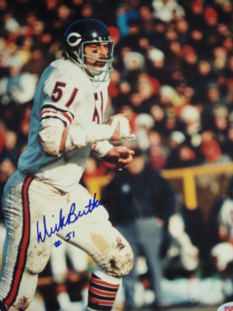 Dick Butkus Autographed 8 x 10 Bears Picture With PSA Coa