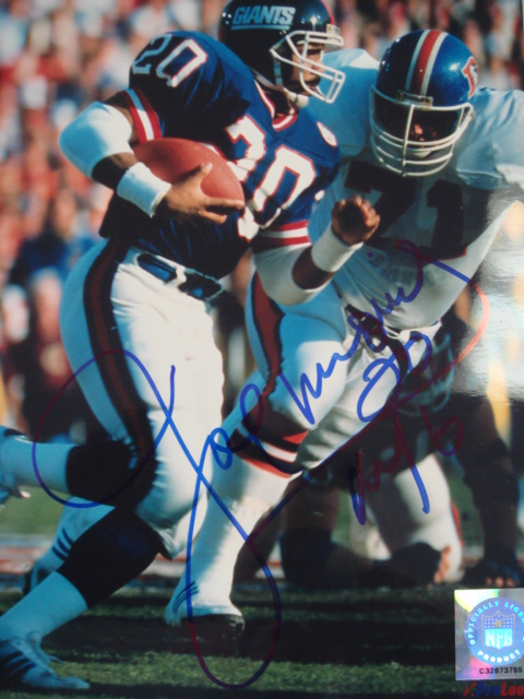 Joe Morris Autographed Giants Picture with Coa