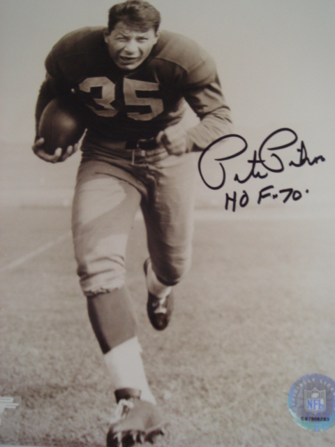 Pete Pihos Autographed 8 x 10 picture with Hof 70 ins. With Coa