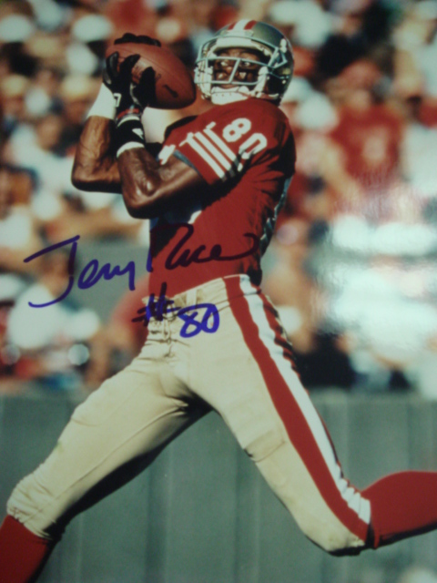 Jerry Rice Autographed 8 x 10 49ers Picture with PSA Coa