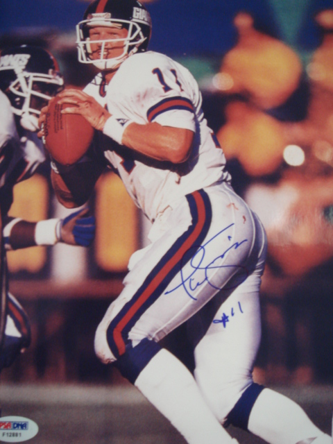 Phil Simms Autographed 8 x 10 Giants picture With PSA Coa