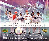 2006 Upper Deck Future Stars MLB Baseball Sports Trading Cards Box (5 Rookie signature cards on clear PETG per box + rare hot boxes with either a red ink signature or a 1/1 printing plate per pack!)