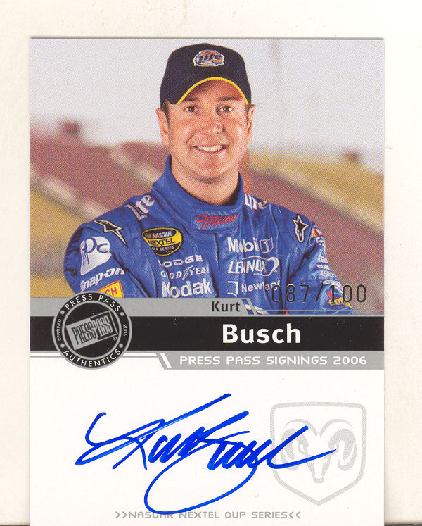 2006 Press Pass Signings Silver #8 Kurt Busch NC S