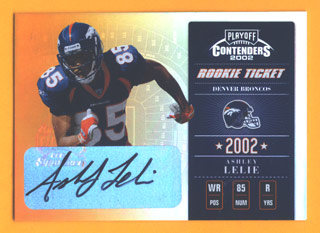 2002 Playoff Contenders #110 Ashley Lelie AU/360 RC front image
