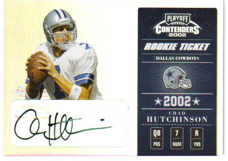 2002 Playoff Contenders #114 C Hutchinson AU/450 RC