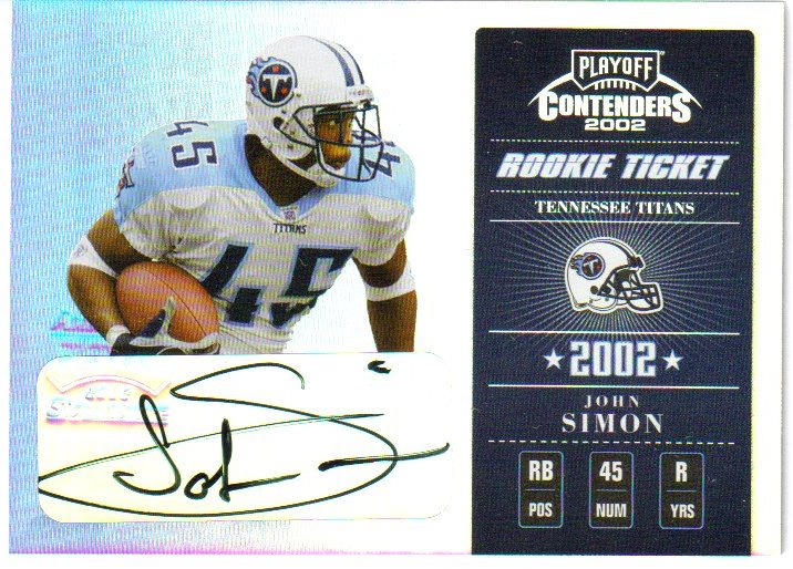2002 Playoff Contenders #125 John Simon AU/400 RC