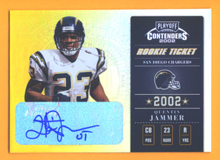 2002 Playoff Contenders #162 Quentin Jammer AU/300 RC